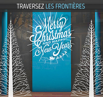 stickers vitrine merry christmas