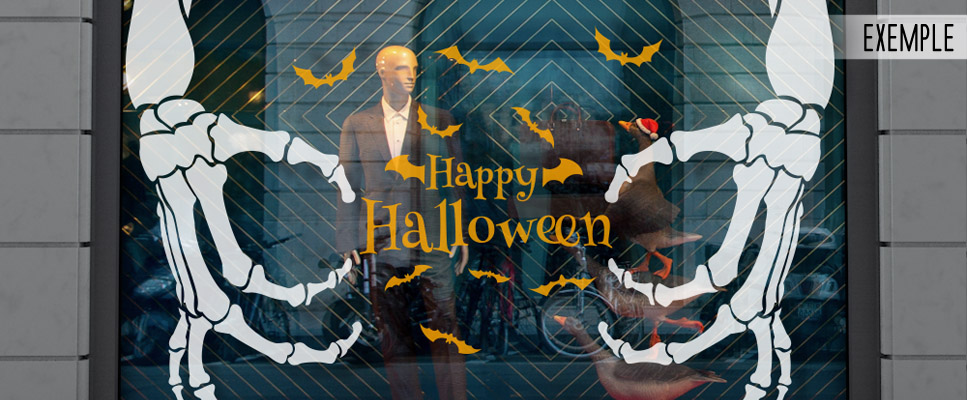 sticker vitrine halloween deco vitrine halloween. Black Bedroom Furniture Sets. Home Design Ideas