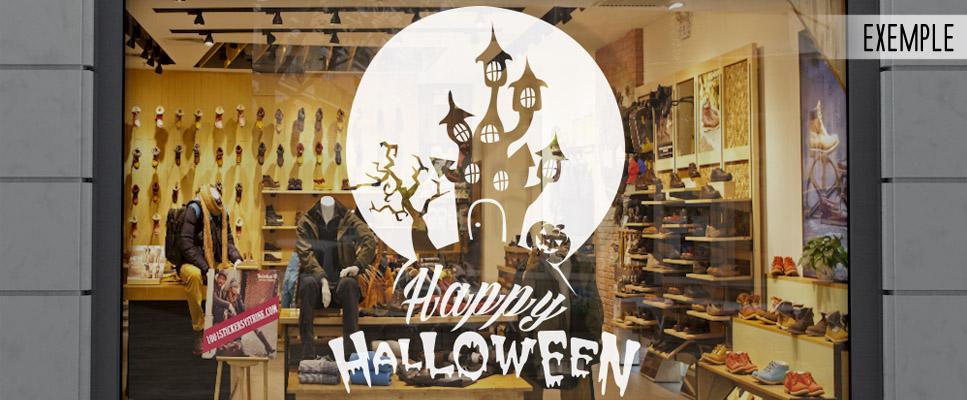 Sticker Deco Vitrine Halloween Mini Manoir
