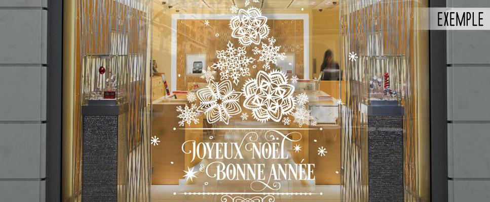 Image Vitrine Noel.Sticker Vitrine Vitrophanie Sapin De Flocons Noel Et Bonne Annee