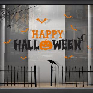 stickers deco vitrine halloween. Black Bedroom Furniture Sets. Home Design Ideas