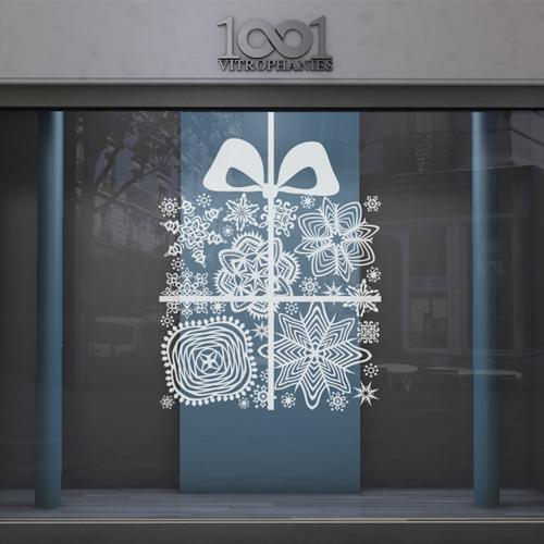 sticker vitrine no l cadeau de flocons. Black Bedroom Furniture Sets. Home Design Ideas
