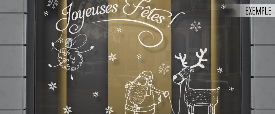 Sticker vitrine joyeuses f tes enfantin - Joyeuses fetes magasin ...