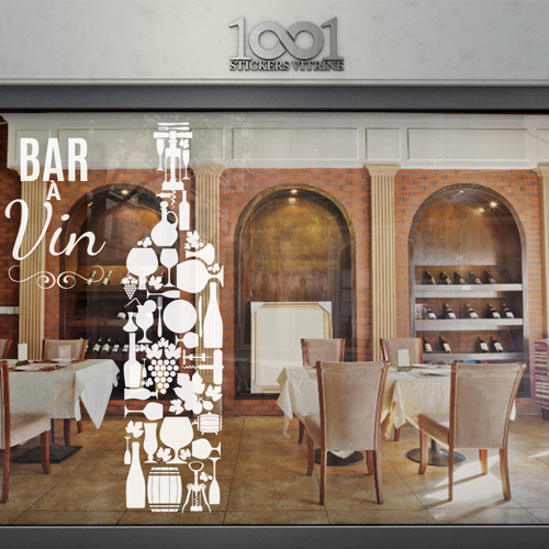 sticker vitrine bar vin. Black Bedroom Furniture Sets. Home Design Ideas
