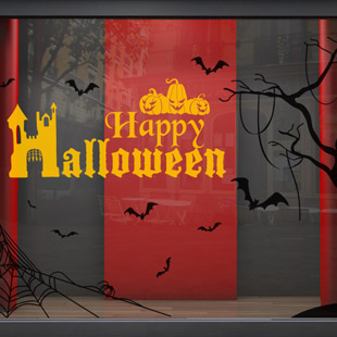 stickers deco vitrine halloween. Black Bedroom Furniture Sets. Home Design Ideas