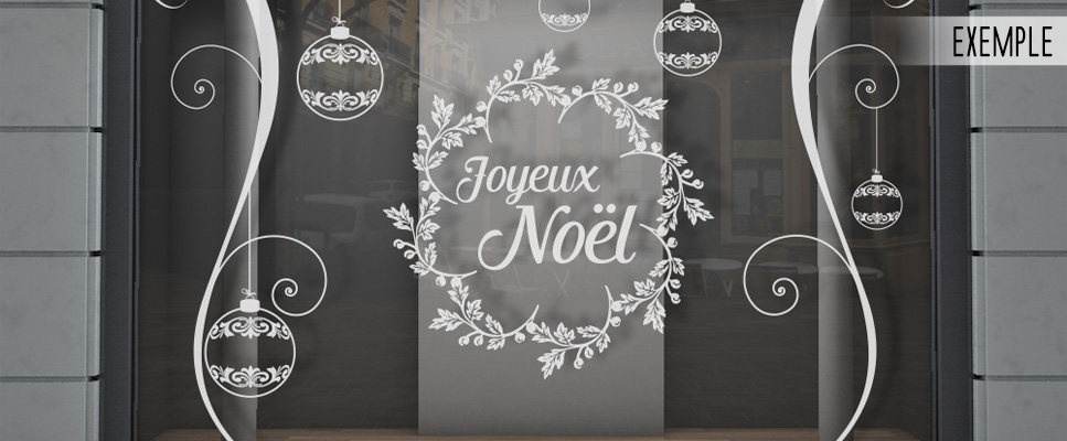 Image Vitrine Noel.Sticker Vitrine Joyeux Noel Boules Orenements