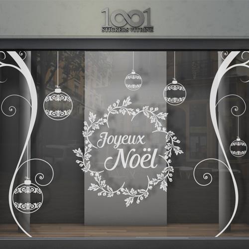 sticker vitrine joyeux no l boules orenements. Black Bedroom Furniture Sets. Home Design Ideas