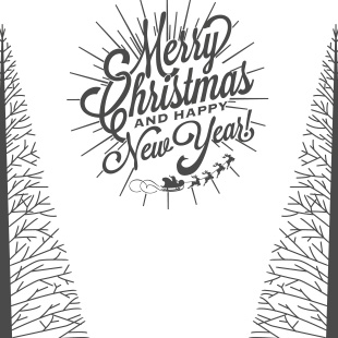 sticker Merry christmas and happy new year