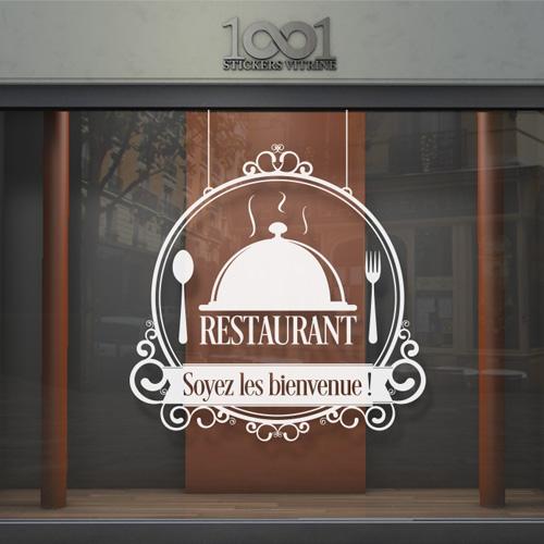 sticker vitrine restaurant bar cloche restaurant. Black Bedroom Furniture Sets. Home Design Ideas
