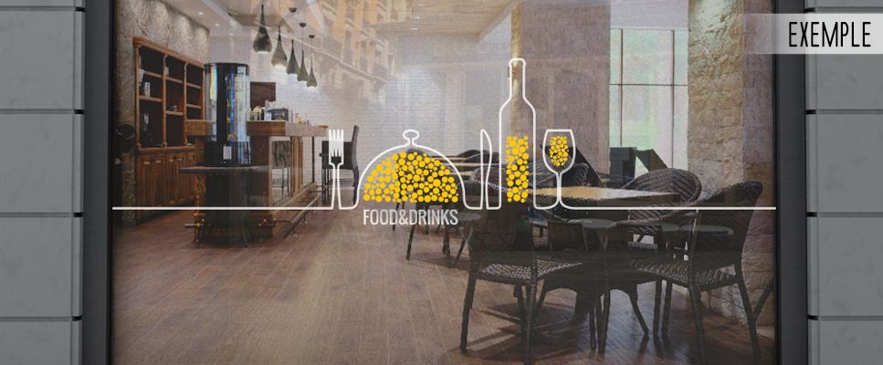 sticker vitrine restaurant bar ligne de couverts. Black Bedroom Furniture Sets. Home Design Ideas