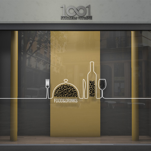 Sticker vitrine restaurant bar ligne de couverts