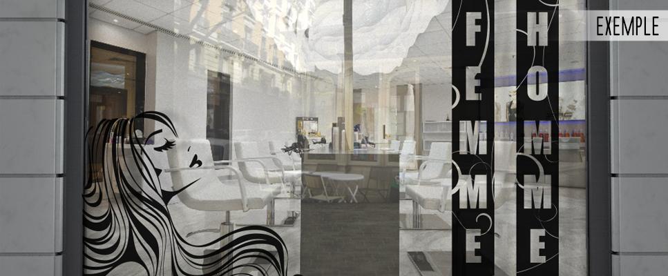sticker vitrine salon de coiffure coiffeur. Black Bedroom Furniture Sets. Home Design Ideas