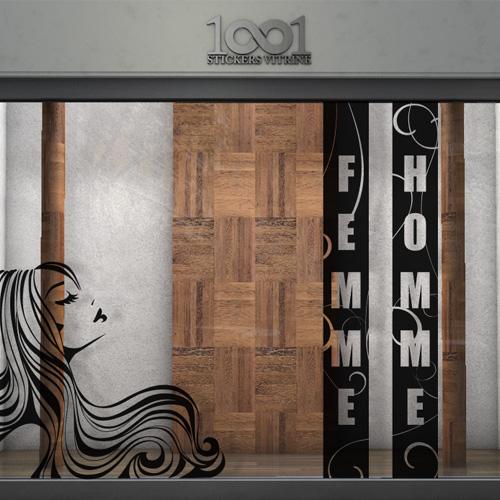 Sticker vitrine salon de coiffure coiffeur