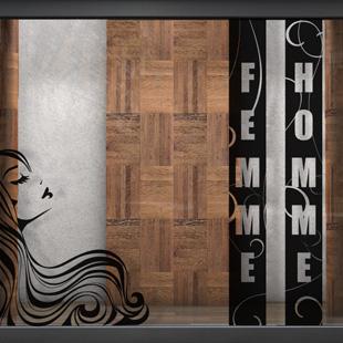 stickers vitrine salon de coiffure. Black Bedroom Furniture Sets. Home Design Ideas