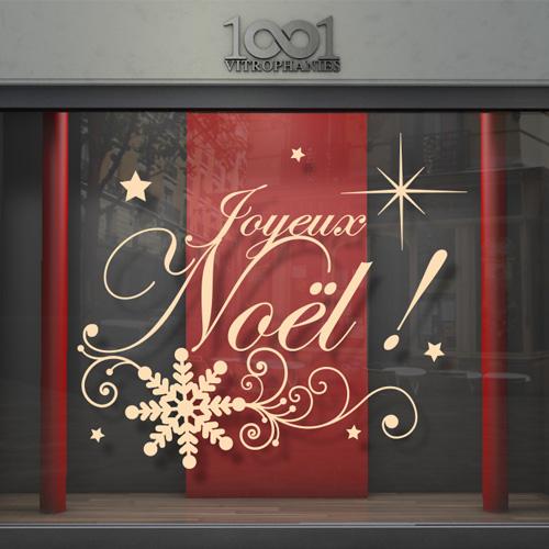sticker vitrine vitrophanie joyeux noel magique. Black Bedroom Furniture Sets. Home Design Ideas