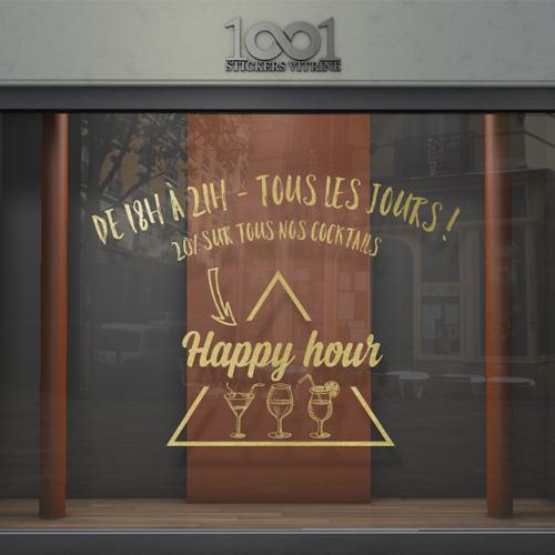 vitrophanie happy hour pour bar et restaurant. Black Bedroom Furniture Sets. Home Design Ideas